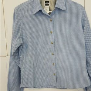 North Face Women Small ButtonUp Hiking Blue Plaid